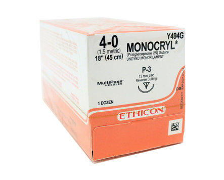 Monocryl Sutures USP 3-0, 1/2 Circle Oval Round Body NW1664 – Seemed